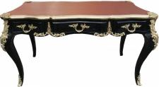 Casa Padrino Luxus Barock Schreibtisch Schwarz / Gold / Bordeaux Sekretär Luxus Möbel