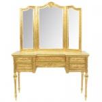 Casa Padrino Barock Schmink Konsole mit Spiegel Gold 120 x 40 x H155 cm - Schlafzimmer Spiegelkonsole mit Schubladen