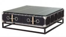 Casa Padrino Luxus Couchtisch im Vintage Koffer Design mit Horsebit Applikationen Dunkelgrau 90 x 90 cm Salon Tisch Wohnzimmer
