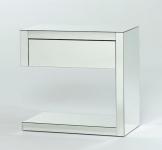 Casa Padrino Luxus Spiegelglas Nachttisch mit Schublade 60 x 35 x H. 57 cm - Designer Schlafzimmermöbel