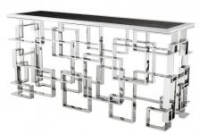 Casa Padrino Art Deco Luxus Konsole Edelstahl / Nickel Finish mit Granitplatte 150 x 60 x H. 77 cm - Konsolen Tisch - Sekretär Konsole - Telefontisch - Hotel Möbel