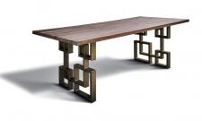 Casa Padrino Esstisch im industriellen Design - Eiche - 200 x 100 x H. 78 cm - Luxus Esszimmermöbel