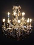 Casa Padrino Barock Kristall Kronleuchter 15-Flammig Silber ModK8 - Hängeleuchte Lüster Hängelampe Deckenlampe