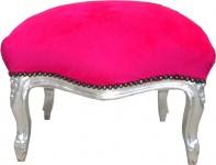 Barock Sitzhocker Pink / Silber Medium
