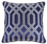Casa Padrino Luxus Kissen blau mit Muster 60 x 60 cm - Luxus Accessoires