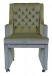 Casa Padrino Designer Esszimmer Stuhl / Sessel ModEF 313 Grau Samt - Hoteleinrichtung - Sessel auf Rollen
