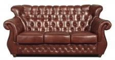 Casa Padrino Chesterfield Echtleder 3er Sofa in braun mit dunkelbraunen Füßen 200 x 80 x H. 85 cm - Luxus Qualität
