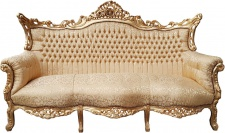 Casa Padrino Barock 3er Sofa Gold Muster / Gold - Wohnzimmer Möbel Couch Lounge