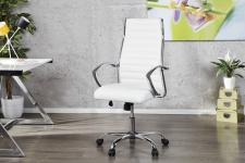 Casa Padrino Bürosessel Drehsessel Drehstuhl Bürostuhl Bürosessel Weiß / Chrom - Modern Line