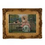 Handgemaltes Barock Öl Gemälde Liebespaar Gold Prunk Rahmen 130 x 100 x 10 cm - Massives Material