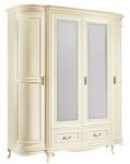 Casa Padrino Luxus Barock Schlafzimmerschrank Creme / Gold 180, 5 x 62, 6 x H. 206, 6 cm - Prunkvoller Kleiderschrank mit 4 Türen und 2 Schubladen - Schlafzimmermöbel