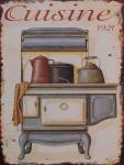 Casa Padrino Deko Zinn Schild / Blechschild Cuisine 1921 Mehrfarbig 25 x H. 33 cm - Vintage Retro Metallschild