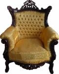 Casa Padrino Barock Sessel Al Capone Gold Muster / Mahagoni Braun - Antik Stil Wohnzimmer Möbel