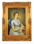 Handgemaltes Barock Öl Gemälde Dame 3 Gold Prunk Rahmen 130 x 100 x 10 cm - Massives Material