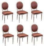 Casa Padrino Luxus Barock Esszimmer Set Creme / Gold / Orange 49 x 43, 5 x H. 98 cm - 6 Esszimmerstühle - Esszimmermöbel