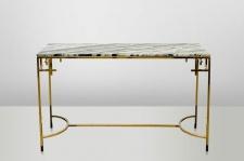 Casa Padrino Art Deco Konsolentisch Gold Metall / Marmor 130 x 40 cm- Jugendstil Konsole - Möbel Wohnzimmer