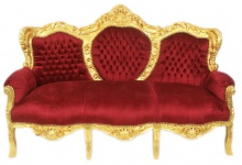 Casa Padrino Barock 3er Sofa King Bordeaux / Gold - Möbel