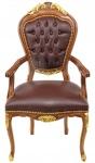 Casa Padrino Luxus Barock Mahagoni Stuhl mit Armlehnen - Luxus Schreibtisch Stuhl