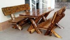 Casa Padrino Gartenmöbel Set Rustikal Tisch + 2 Garten Bänke - Eiche Massivholz - Echtholz Möbel Massiv