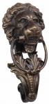 Casa Padrino Barock Gusseisen Löwenkopf Türklopfer Bronze H. 41 cm - Barock Deko Accessoires