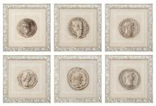 Casa Padrino Luxus Druck Set Römische Münzen Beige 50 x H. 50 cm - Luxus Bilder & Accessoires
