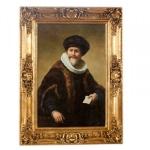 Handgemaltes Barock Öl Gemälde Rembrandt Portreat des Kaufmanns Nicolaes Ruts Gold Prunk Rahmen 130 x 100 x 10 cm - Massives Material - Selbstporträt