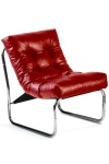 Designer Salon Stuhl Rot Lederoptik, sehr komfortabler Sitz, moderner Wohnzimmerstuhl