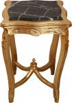 Casa Padrino Barock Beistelltisch mit Marmorplatte Viereckig Gold Mod W20 60 x 42 cm - Antik Stil