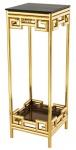 Casa Padrino Luxus Beistelltisch Gold mit Rauchglas 35 x 35 x H. 100 cm - Designer Tisch Möbel - Säule