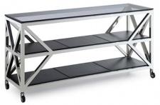 Casa Padrino Luxus Konsolentisch Silber / Schwarz 150 x 45 x H. 75 cm - Wohnzimmer Konsole mit Rollen