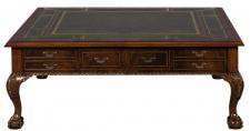 Casa Padrino Luxus Barock Wohnzimmertisch Dunkelbraun / Grün 130 x 130 x H. 49 cm - Couchtisch mit 24 Schubladen