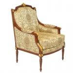 Casa Padrino Barock Lounge Thron Sessel Empire Gold Muster / Mahagoni Braun / Gold - Ohren Sessel - Ohrensessel Tron Stuhl