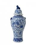 Casa Padrino Designer Keramik Vase mit Deckel Dunkelblau Durchmesser 50 x H. 102 cm - Luxus Kollektion