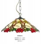 Casa Padrino Tiffany Hängeleuchte 40cm Rot / Grün / Creme - Glas Mosaik Decken Lampe Leuchte Barock Restaurant Beleuchtung