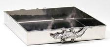 Casa Padrino Messing Serviertablett Kroko Silber 30 x 30 x H. 6 cm - Luxus Tablett