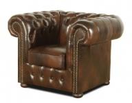 Casa Padrino Echtleder Sessel Dunkelbraun 110 x 90 x H. 78 cm - Luxus Qualität