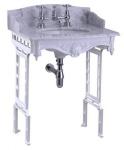 Casa Padrino Luxus Jugendstil Stand Waschtisch Weiß / Weiß mit Marmorplatte mit Spritzschutz hinten und seitlich - Barock Waschbecken Barockstil Antik Stil
