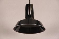 Casa Padrino Vintage Industrie Hängeleuchte Antik Stil Epoxy Schwarz Hochglanz Metall Durchmesser 34cm - Restaurant - Hotel Lampe Leuchte - Industrial Leuchte