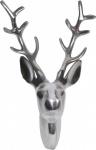 Casa Padrino Designer Geweih Deko Wand Hirsch Figur aus poliertem Aluminium - Wandfigur - Geweih - Wandgeweih