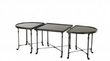 Casa Padrino Luxus Art Deco Designer Beistelltisch 3er Set Anthrazit mit schwarzem Glas - Hotel Tisch Möbel