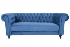 Casa Padrino Chesterfield Sofa Blau 200 x 80 x H. 95 cm - Luxus Sofa