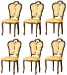 Casa Padrino Luxus Barock Esszimmer Set Braun / Weiß / Gold 48 x 43 x H. 104, 5 cm - 6 Esszimmerstühle - Barock Esszimmermöbel