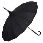 Regenschirm Pagode Schwarz MADE WITH SWAROVSKI® ELEMENTS Model Paris - Jugendstil Design - Eleganter Stockschirm