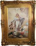 Handgemaltes Barock Öl Gemälde Maria mit Engeln Gold Prunk Rahmen 130 x 100 x 10 cm - Massives Material