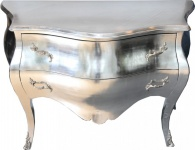 Casa Padrino Barock Kommode Silber - Handgefertigt aus Massivholz