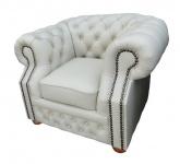 Casa Padrino Echtleder Sessel Weiß 120 x 90 x H. 78 cm - Chesterfield Möbel