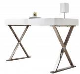 Casa Padrino Design Schreibtisch Weiss / Silber 100 cm Hochglanz - Designer Kollektion