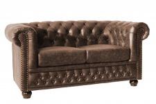 Casa Padrino Luxus Spaltleder 2er Sofa Vintage Braun 150 x 85 x H.70cm- Chesterfield Möbel