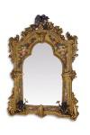 Casa Padrino Luxus Barock Wandspiegel Gold - 138, 5 cm x 101 cm - Goldener Spiegel mit Blumenapplikationen