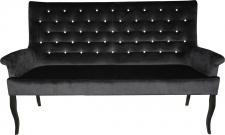 Casa Padrino Chesterfield Sitzbank / Sofa mit Bling Bling Glitzersteinen Schwarz B 180 cm, H 100 cm, T 67 cm - Esszimmer Bank - Limited Edition